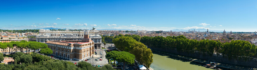 Panoramic view of Rome from castel sant Angelo
