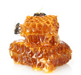 Fototapety sweet honeycomb with honey and bee, isolated on white