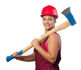 Young smiling female woodcutter with hard hat holding huge ax
