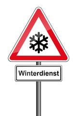 Warnschild RAL 3001 signalrot freigestellt - Winterdienst