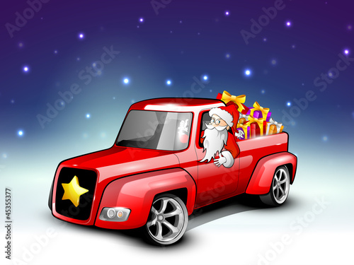Santa riding Christmas car loaded with gifts. EPS 10.