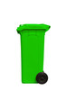 Large green trash can, side view