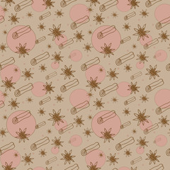 cinnamon and anise vector seamless pattern