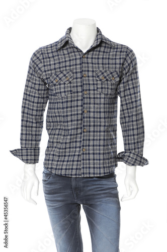 cotton plaid shirt on male mannequin