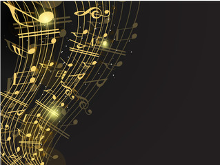 Vector musical background with musical notes and waves and copy
