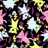Vector kawaii pattern of Halloween cats and creatures. poster