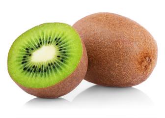 Ripe kiwi fruit with half