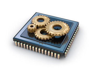 Cpu and gears, concept icon