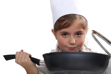 Girl with pan