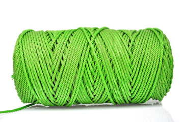 Hank of green rope