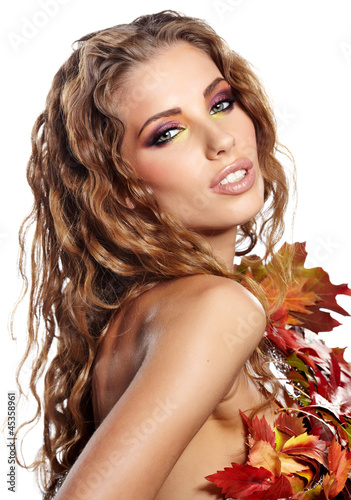 attractive autumn woman portrait on white background