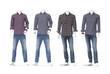 cotton plaid shirt on four male mannequin