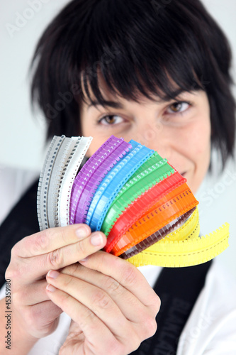 Woman with multi colored zippers