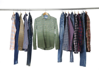 sleeved plaid cotton and jeans on a wooden hanger