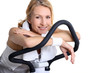 portrait of a woman on exercise bike