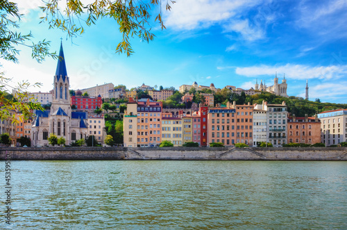 Lyon cityscape from Saone river with colorful houses and river - 45359530