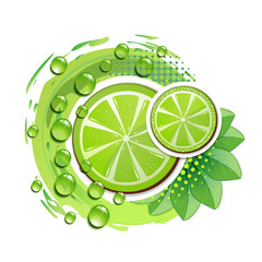 Slice of lime with leafs and drops of juice