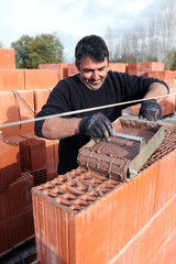 Portrait of a bricklayer