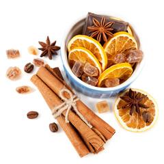 Coffee beans, cinnamon sticks, star anise