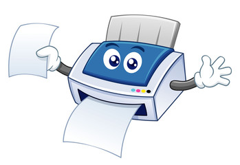 illustration of printer cartoon vector