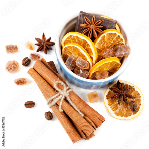 Coffee beans, cinnamon sticks, star anise