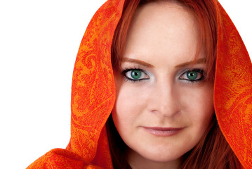 Beautiful   woman with red hair in orange scarf