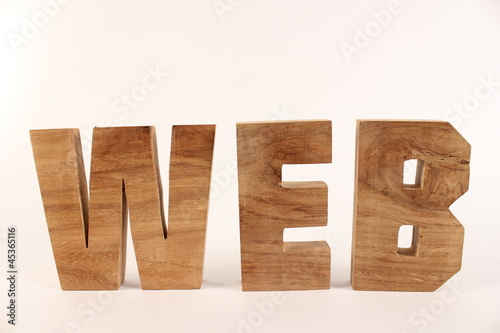 WEB text animation with wooden letters version 1
