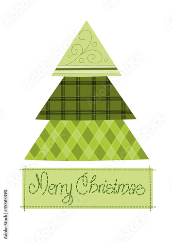 Green pattern christmas tree - vector illustration.