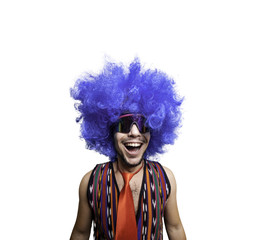 crazy guy with sunglasses and blue wig