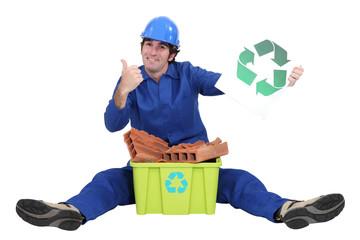 Tradesman promoting recycling