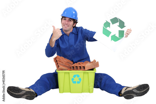Tradesman promoting recycling