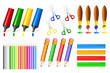 vector illustration of collection of colorful office stationery