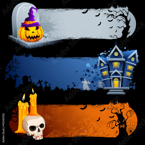 vector illustration ofcollection of scary Halloween banner