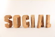 SOCIAL text animation with wooden letter version 2