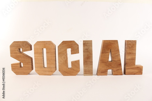 SOCIAL text animation with wooden letter version 1