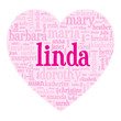 Постер, плакат: LINDA Tag Cloud i love you be my valentine card heart letter