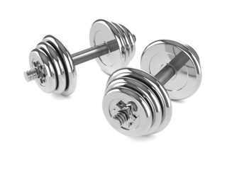3d Two Chrome dumbell weights angled