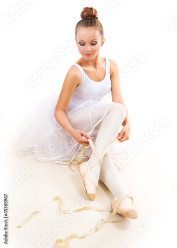 Ballerina. Pretty Ballet Dancer Wearing Pointes. Ballet Shoes
