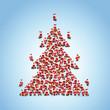 Weihnachtsmann Flashmob formt Weihnachtsbaum