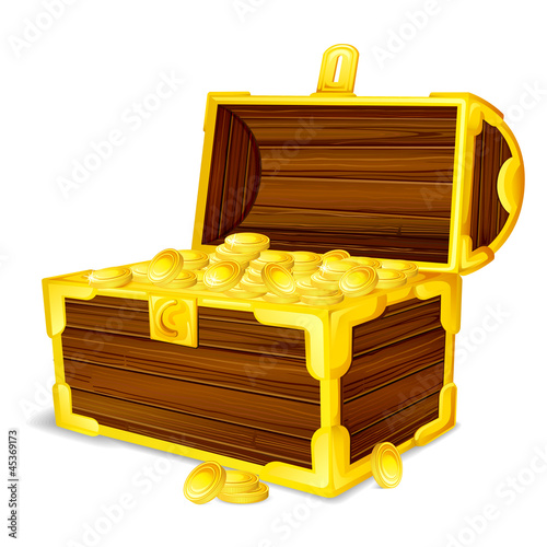 vector illustration of treasure chest full of gold coin