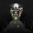 vector illustration of haunted castle in scary Halloween night