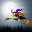 vector illustration of Halloween witch flying over gravyard