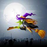 vector illustration of Halloween witch flying over gravyard