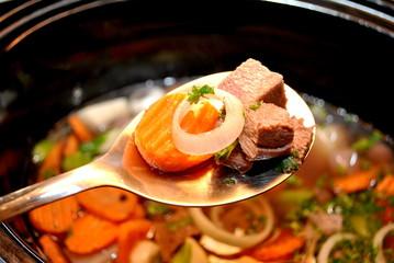 Spoonful of Cooking Stew Ingredients