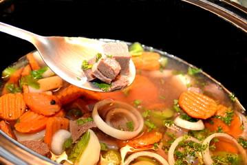Stew Ingredients on a Spoon