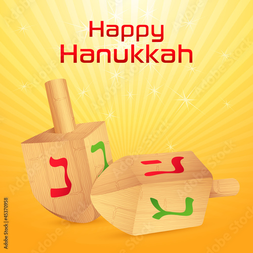 vector illustration of dreidel for Happy Hanukkah