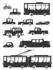 Vehicle Silhouettes. Cartoon style.