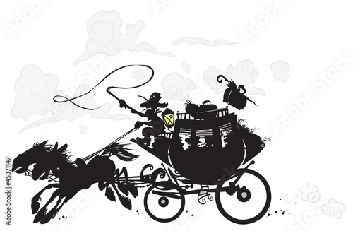 Western Stagecoach. Silhouette drawing.