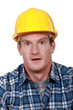 Scared looking builder