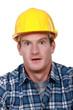 Scared looking builder